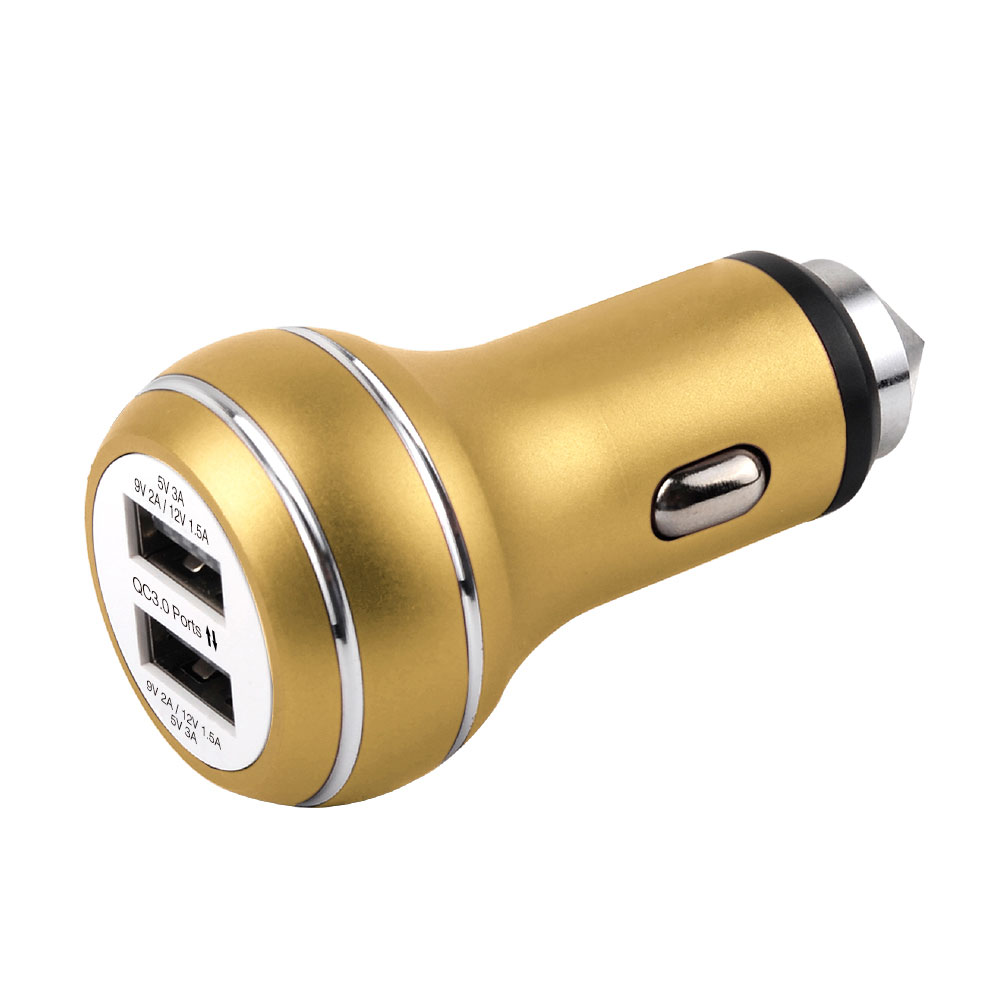 Dual QC3.0 Car charger Aluminum 36W car charger with safety hammer CE FCC
