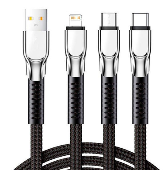 3 in1 Zinc Alloy Fabric Braided Cable, (4.2ft) 3A USB Charging Cable, Universal Cable Multi Charging Cable, Compatible with All Mobile Phones in The Market